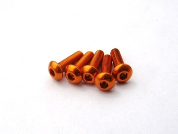 69635 Hiro Seiko Aluminum Alloy 3X6 Hex Socket Button Head Screw (5) Orange (HS69635)
